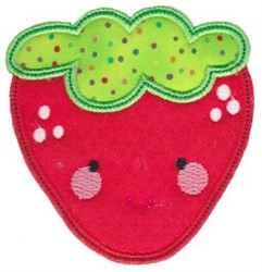 Kawaii Applique Strawberry embroidery design