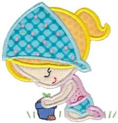 Garden Girl Applique embroidery design