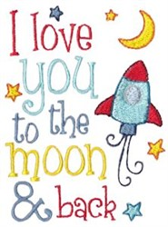 To The Moon embroidery design