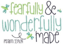 Fearfully & Wonderfully Made embroidery design