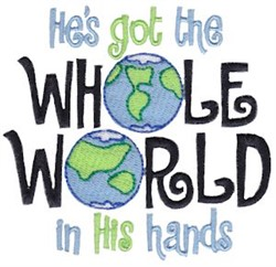 Whole World In His Hands embroidery design