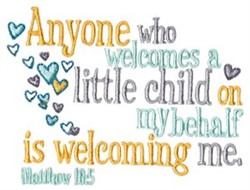 Welcome A Little Child embroidery design