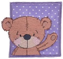 Waving Teddy Bear embroidery design