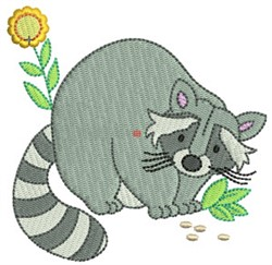 Raccoon & Flower embroidery design