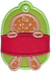 Christmas Tag Gingerbread Applique embroidery design