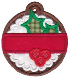 Christmas Tag Holly Applique embroidery design
