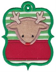 Christmas Tag Reindeer Applique embroidery design