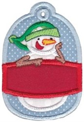 Christmas Tag Snowman Applique embroidery design