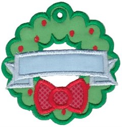Christmas Tag Wreath Applique embroidery design