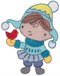 Winter Cutie and Cardinal embroidery design