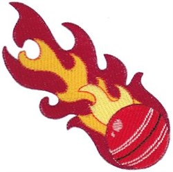 Cricket Ball Flames embroidery design