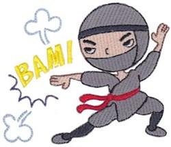 Bam! Ninja embroidery design