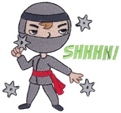 Shhhh! Ninja embroidery design