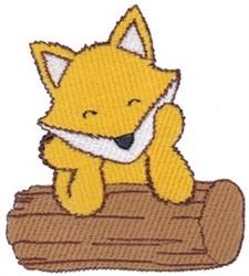 Fox On Log embroidery design