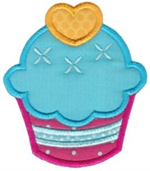 Heart Cupcake embroidery design