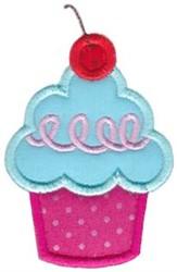 Applique Cherry Cupcake embroidery design