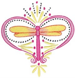 Heart Dragonfly embroidery design