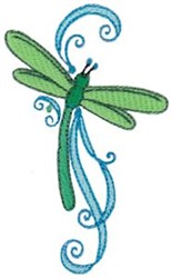 Swirly Dragonfly embroidery design
