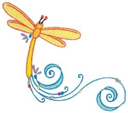 Dragonflly Swirl embroidery design