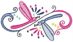 Dragonfly Curls embroidery design
