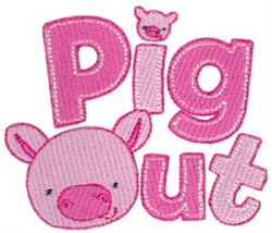 Pig Out embroidery design