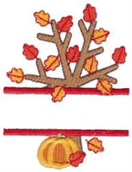 Fall Tree Split embroidery design