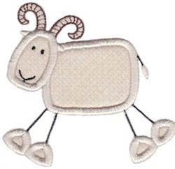 Wild Stix Goat Applique embroidery design