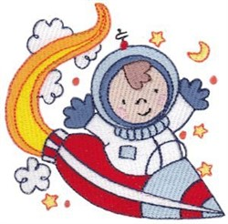 Step Into Space Astronaut Rocketship embroidery design