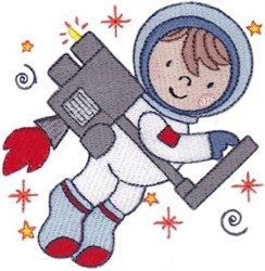 Step Into Space Jetpack Astronaut embroidery design