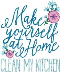 Clean My Kitchen embroidery design