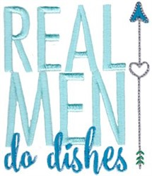 Real Men Do Dishes embroidery design