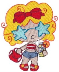 Starry Eyed Beach Babe embroidery design