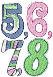 5, 6, 7, 8 embroidery design
