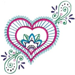Mehndi Heart & Flowers embroidery design