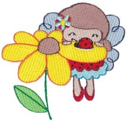 Fairy Girl & Flower embroidery design