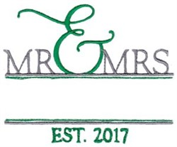 Mr. & Mrs. Name Drop embroidery design