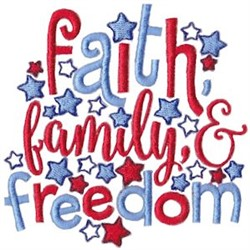 Faith, Family & Freedom embroidery design