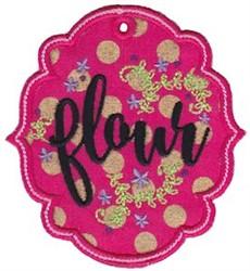 Flour Label Applique embroidery design