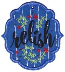Relish Label Applique embroidery design