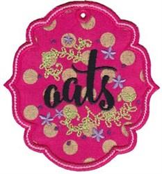 Oats Label Applique embroidery design