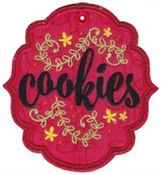 Cookie Label Applique embroidery design
