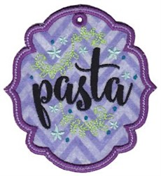 Pasta Label Applique embroidery design