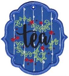 Tea Label  Applique embroidery design
