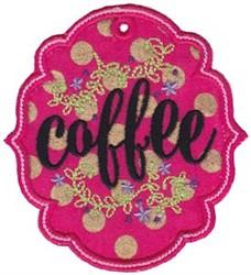 Coffee Label Applique embroidery design