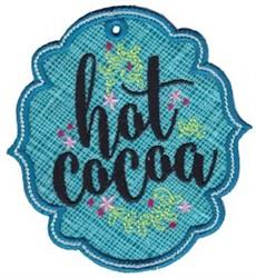 Hot Cocoa Label Applique embroidery design