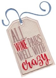 Wine Pairs Well embroidery design