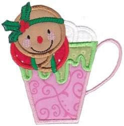 Applique Gingerbread Mug embroidery design