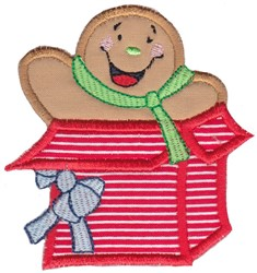 Gingerbread Gift Applique embroidery design
