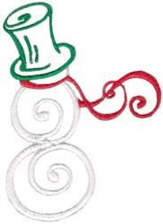 Swirly Snowman embroidery design