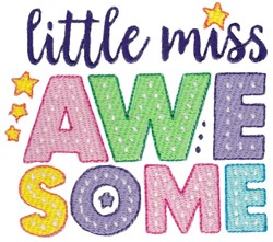 Miss Awesome embroidery design